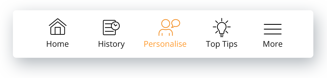 Footer_Personalised tab secelted